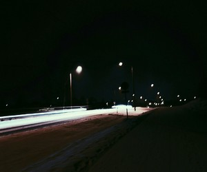 cars, lights, and snow image