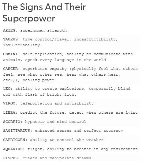 Zodiac signs as superpowers