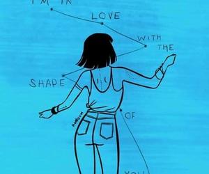 ed sheeran, shape of you, and blue image