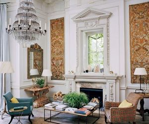 chandelier, fireplace, and house image