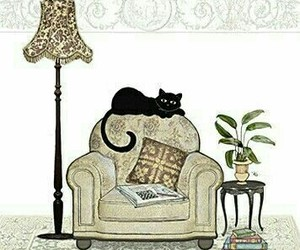 armchair, books, and cat image