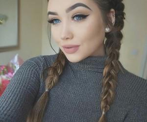 blue eyes, women, and braids hair image