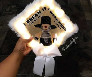 graduation cap, queen bey, and beyoncé image