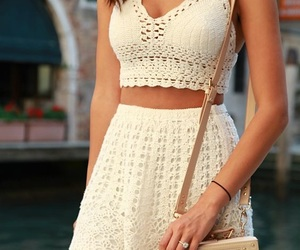 outfit, white, and dress image