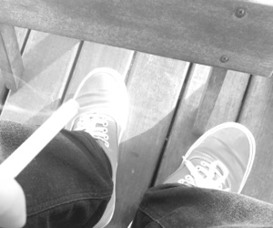 black and white, vans, and cigarette image