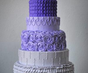 cake, purple, and wedding cake image