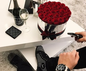 rose, boy, and gift image