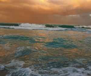 beach, ocean, and sun rise image