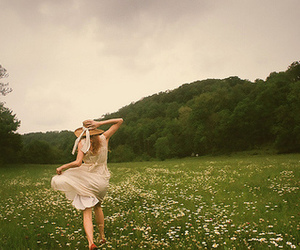 girl, field, and nature image