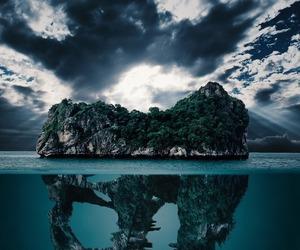 Island, dinosaur, and ocean image