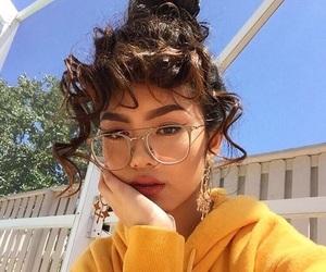 girl, yellow, and glasses image