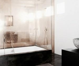 interior, bathroom, and black image