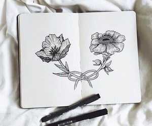art, draw, and flowers image
