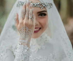 hijab, bride, and wedding image