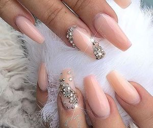 nails, glitter, and Nude image