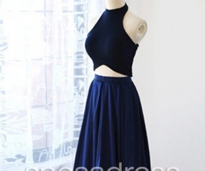 blue prom dresses, crop top dresses, and blue two piece dresses image