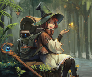 anime girl, art, and forest image
