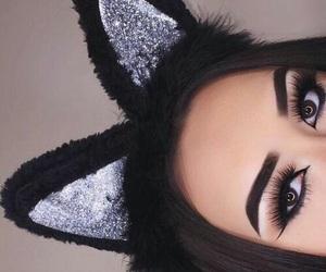 eye liner, makeup, and cat hair band image