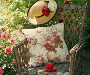 flowers, rose, and hat image