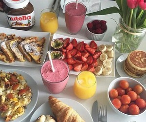 food, breakfast, and nutella image