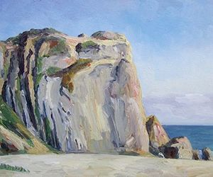 mountain, art, and sea image