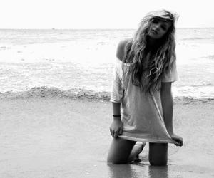 girl, beach, and black and white image