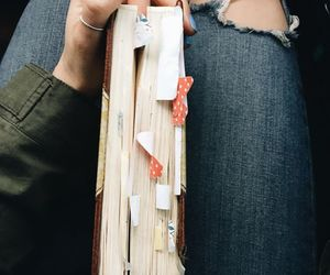book, jeans, and reading image