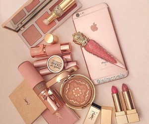 iphone, lipstick, and cosmetics image