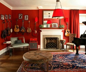 den, home decor, and red walls image
