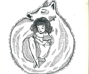 girl, black and white, and wolf image