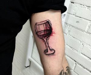 tattoo, wine, and red image