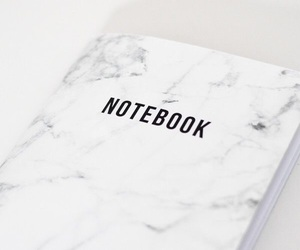 notebook, marble, and white image