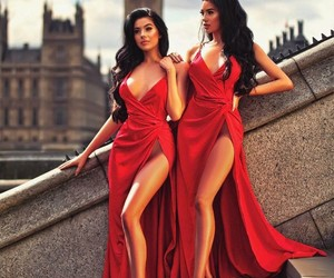 dress, red, and beauty image