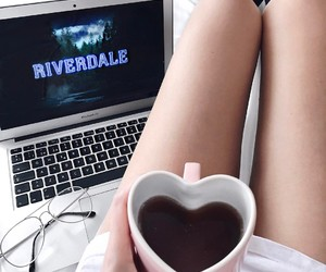 riverdale, coffee, and macbook image