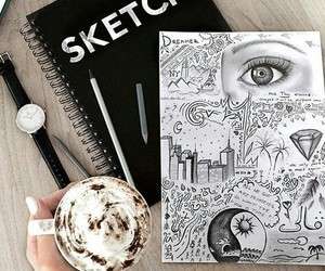 art, sketch, and coffee image