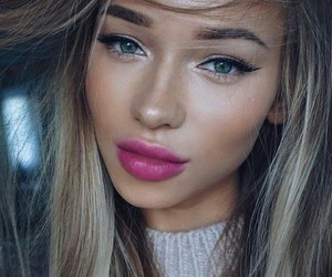 blue eyes, hairstyle, and makeup idea image