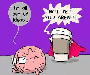 brain, idea, and coffee image