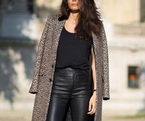 coat, leather pants, and panter image