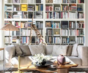 home decor, living room, and bookcases image