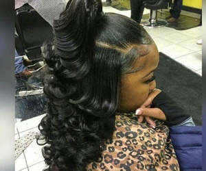 hair, hairstyle, and weave image