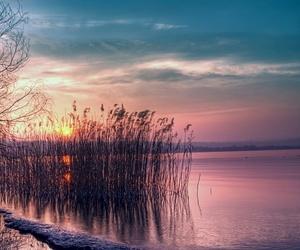 sunrise, sunset, and water image