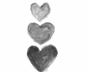 black and withe, heart, and ♡♡♡ image