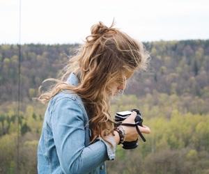 bun, camera, and denim image