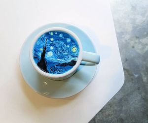 art, blue, and cup image