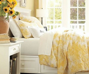 bedroom, yellow, and bed image