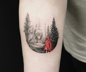 forest, red, and tattoo image