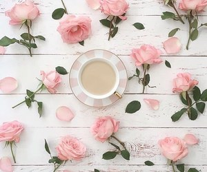 rose, coffee, and pink roses image