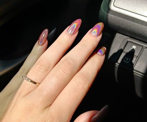 pink, holographic nails, and almond nails image