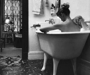 black and white, girl, and bath image