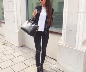 bag, black, and girl image